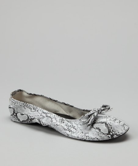 White Snakeskin Fold-Up Ballet Flat