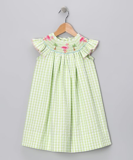 Lime Gingham Flamingo Angel-Sleeve Dress - Infant & Girls