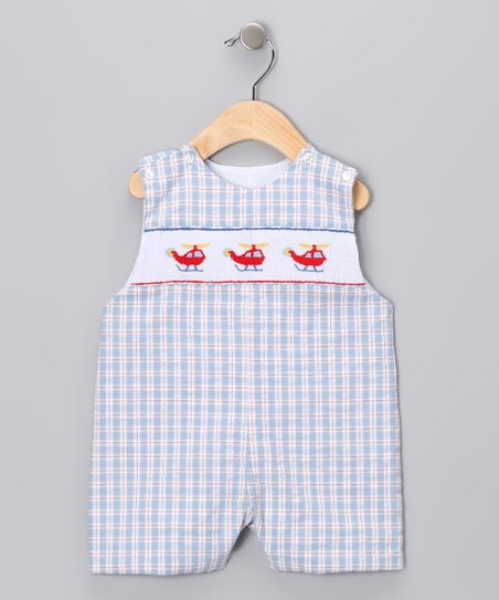 Blue & Red Gingham Helicopter John Johns - Infant