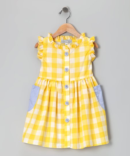 Yellow Checkerboard Picnic Dress - Infant, Toddler &amp; Girls