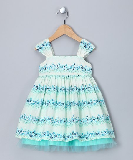Aqua Floral Stripe Bow Dress - Infant, Toddler & Girls