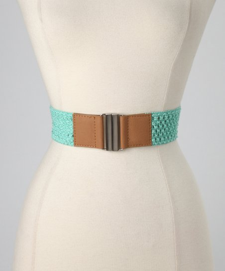 Mint &amp; Light Tan Crocheted Stretch Belt