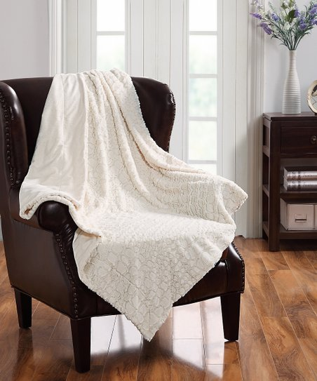 Ivory Ashley Alligator Fur Throw