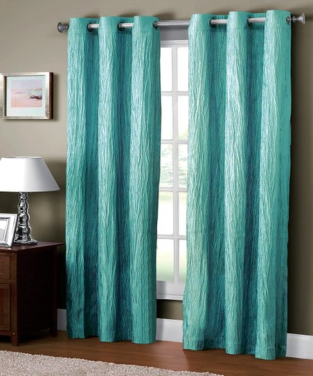 Aqua Jericho Crushed Grommet Curtain Panel