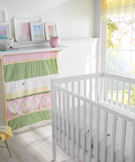 Pink Lazy Daisy Crib Bedding Set