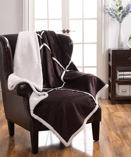 Chocolate Micro Mink Sherpa Throw
