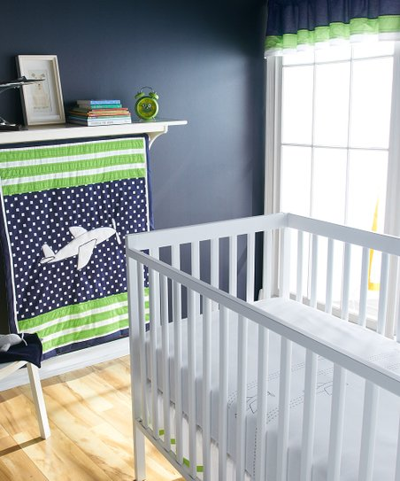 Blue & Green Up & Away Crib Bedding Set