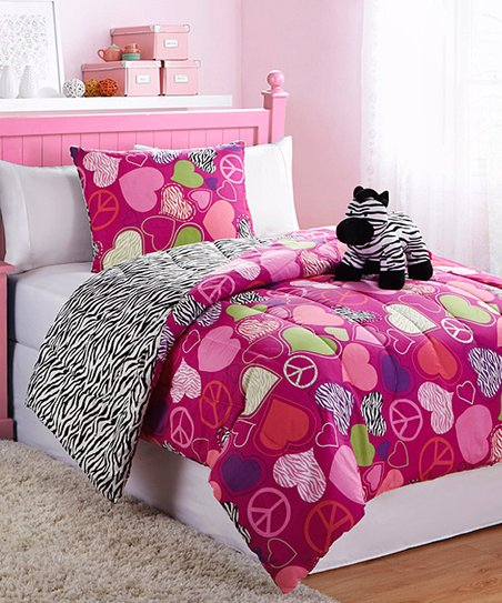Zebra Reversible Twin Comforter Set
