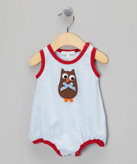 Blue & Red Stripe Owl Bubble Bodysuit - Infant