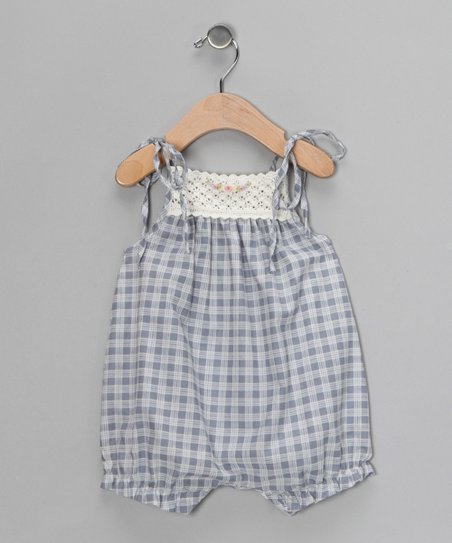 Blue Gingham Crocheted Bubble Romper - Infant