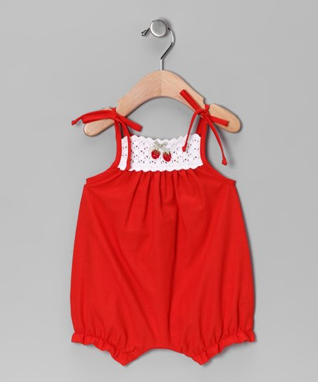 Red Crocheted Bubble Romper - Infant