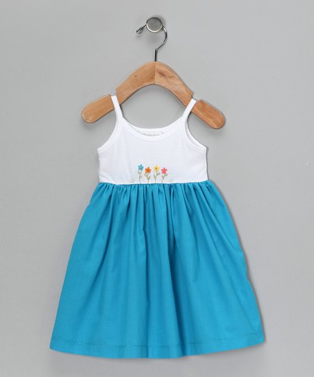 White & Turquoise Babydoll Dress - Infant