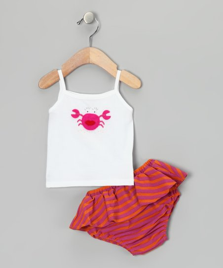 White Crab Tank & Fuchsia Stripe Ruffle Diaper Cover - Infant
