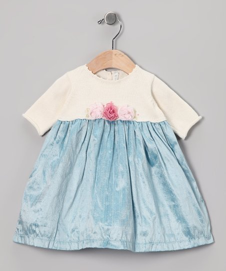 Off-White &amp; Aqua Silk-Blend Dress - Infant, Toddler &amp; Girls