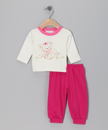 White Flower Bear Tee & Fuchsia Pants - Infant & Toddler