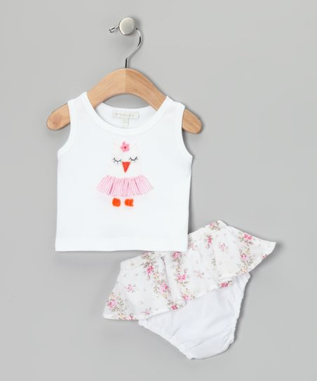 White Owl Tank & Pink Skirted Floral Diaper Cover - Infant