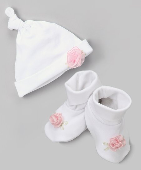 White & Pink Flower Single-Knot Beanie & Booties