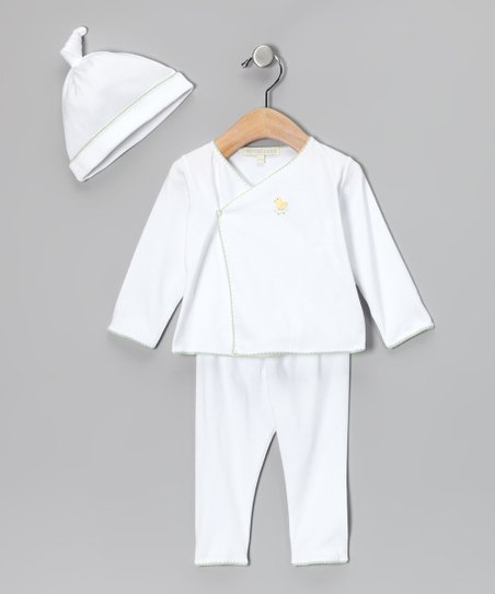 White & Green Wrap Top Set - Infant