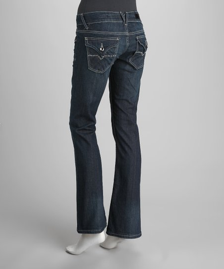 Dark Blue Faded Bootcut Jeans