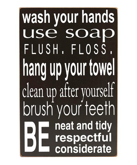 Black Bathroom Rules Wall Art