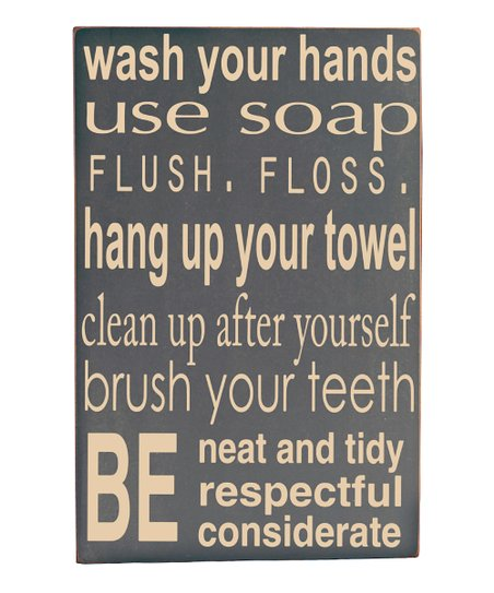 Gray Bathroom Rules Wall Art