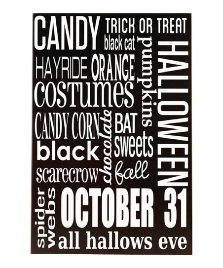 Vinyl Crafts Black & White Halloween Subway Wood Plaque