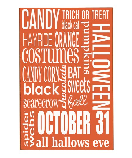 Vinyl Crafts Orange & White Halloween Subway Wood Plaque