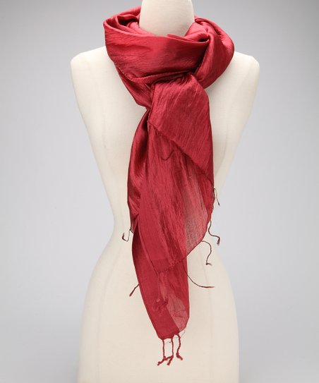 Burgundy Metallic Silk Scarf