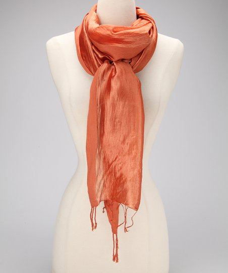 Orange Metallic Silk Scarf