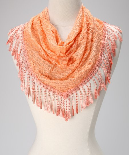 Violet Del Mar Peach Lace Teardrop Fringe Scarf