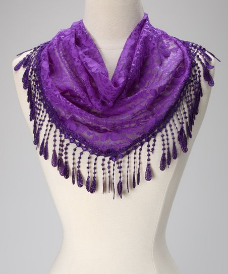 Violet Del Mar Purple Lace Teardrop Fringe Scarf