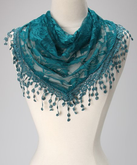 Violet Del Mar Teal Lace Fringe Scarf