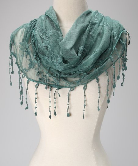 Violet Del Mar Forest Green Lace Fringe Scarf