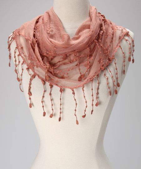 Violet Del Mar Rust Lace Fringe Scarf