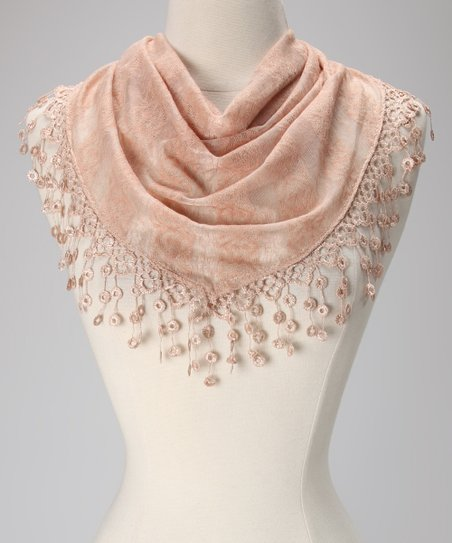 Violet Del Mar Beige Stripe Lace Fringe Scarf