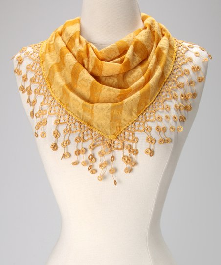 Violet Del Mar Mustard Stripe Lace Fringe Scarf
