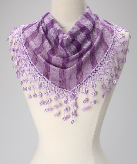 Violet Del Mar Purple Stripe Lace Fringe Scarf