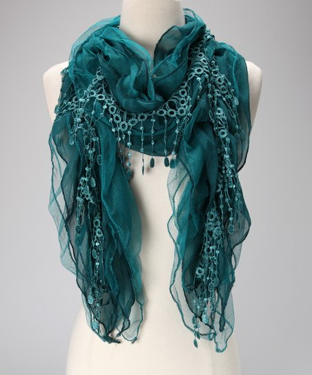 Violet Del Mar Blue Lace Chiffon Scarf