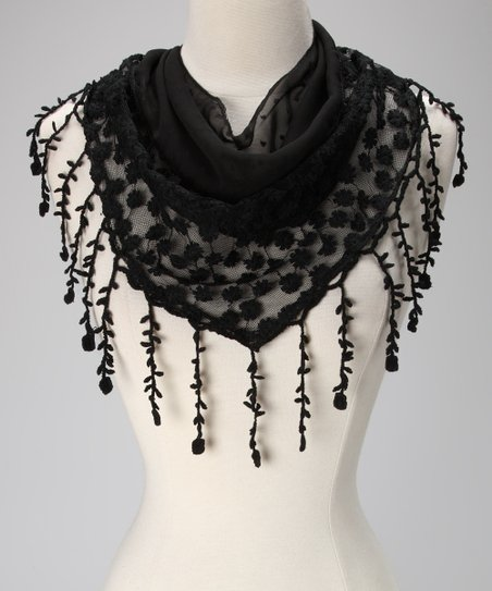 Violet Del Mar Black Daisy Lace Fringe Scarf