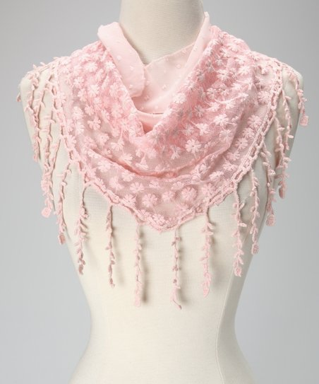 Violet Del Mar Pink Daisy Lace Fringe Scarf