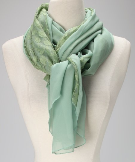 Violet Del Mar Olive Leaf Lace Chiffon Scarf