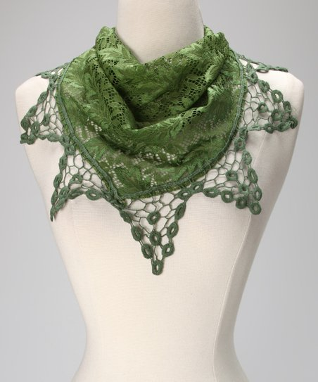 Olive Lace Triangle Scarf