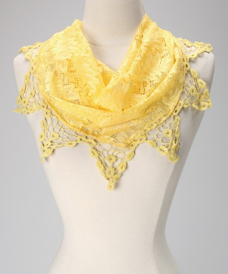 Violet Del Mar Yellow Lace Triangle Scarf