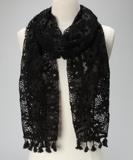 Violet Del Mar Black Lace Tassel Scarf