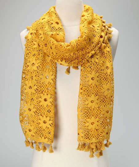 Violet Del Mar Mustard Lace Tassel Scarf