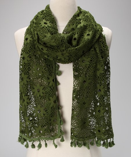 Violet Del Mar Olive Lace Tassel Scarf