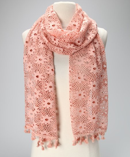 Violet Del Mar Pink Lace Tassel Scarf