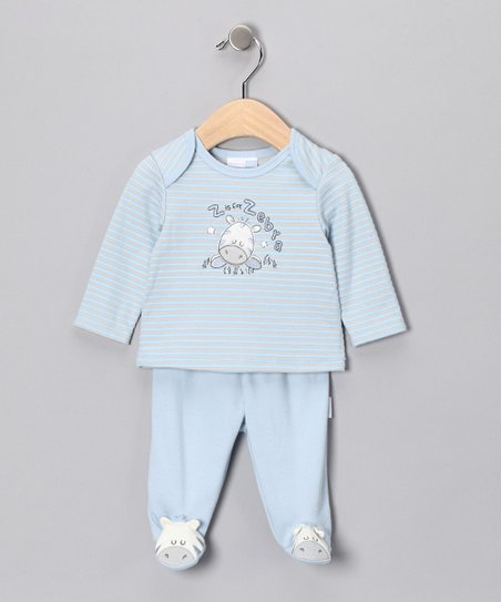 Blue 'Z Is For Zebra' Tee & Footie Pants - Infant