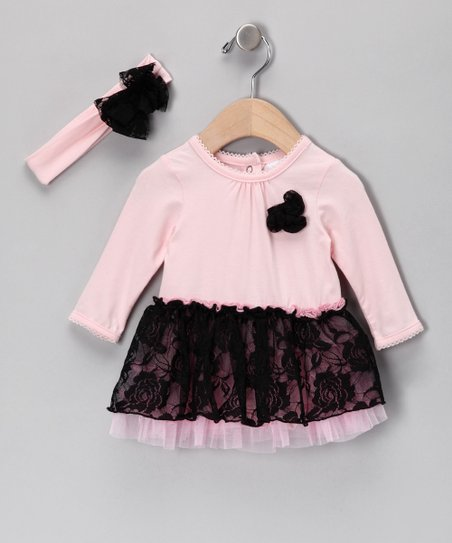 Pink & Black Lace Tutu Dress & Headband