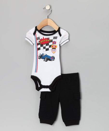 Black 'Vrroom!' Bodysuit & Cargo Pants - Infant